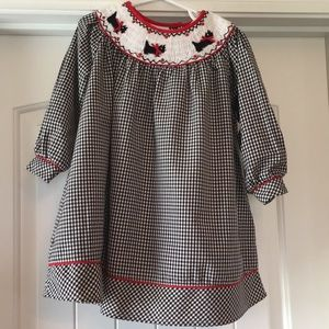 Rare Editions 2T Smocked Scottie Dogs Dress